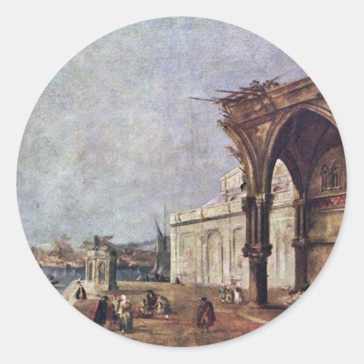 Capricho con los adornos venecianos de Guardi Fran Etiqueta Redonda
