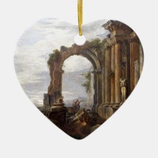 Capricho de las ruinas clásicas Juan Pablo Panini Adorno De Cerámica En Forma De Corazón