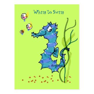 Capricho lindo del Seahorse del dibujo animado par Postal