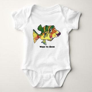 Capricho para nadar los pescados del dibujo body para bebé