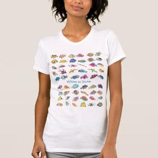 Capricho para nadar pescados del dibujo animado camiseta