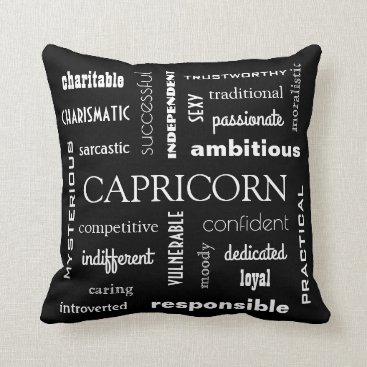 Beach Themed Capricorn Astrological Throw Pillow