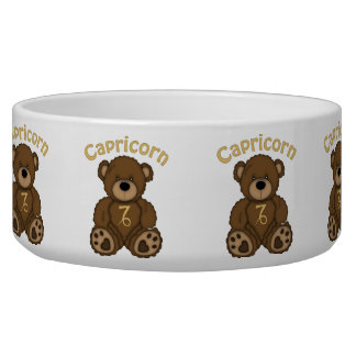 Capricorn Astrology Teddy Bear Pet Bowl
