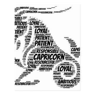 Capricorn Astrology Zodiac Sign Word Cloud Postcard