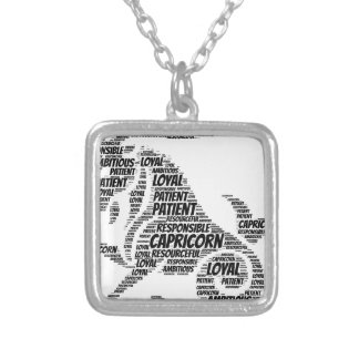Capricorn Astrology Zodiac Sign Word Cloud Silver Plated Necklace