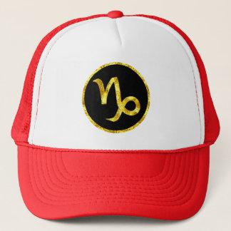Capricorn Black Gold Crest Trucker Hat
