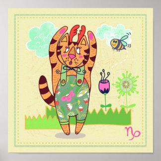 Capricorn Cat Zodiac Nursery Print