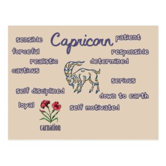 Capricorn characteristics zodiac card