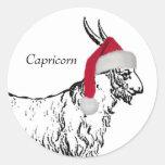 Capricorn Christmas Round Sticker