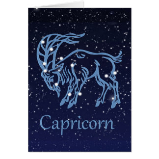 Capricorn Constellation and Zodiac Sign with Stars Card