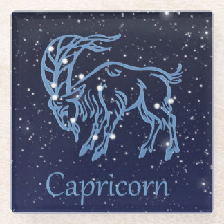 Capricorn Constellation and Zodiac Sign with Stars Glass Coaster