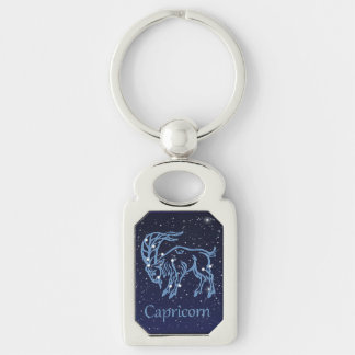 Capricorn Constellation and Zodiac Sign with Stars Silver-Colored Rectangular Metal Keychain