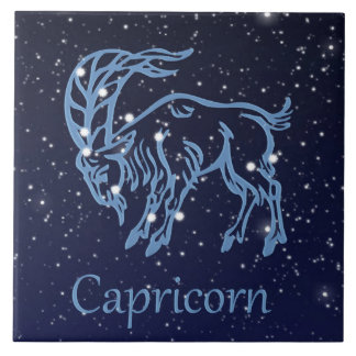 Capricorn Constellation and Zodiac Sign with Stars Tile