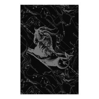 Capricorn Constellation Hevelius 1690 on Black Flyer