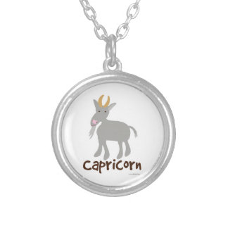 Capricorn Cute Goat Symbol Silver Plated Necklace