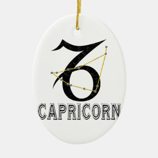 Capricorn Double-Sided Oval Ceramic Christmas Ornament