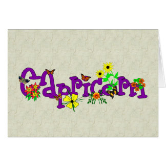 Capricorn Flowers Greeting Card