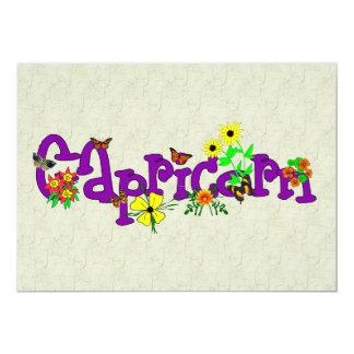Capricorn Flowers Personalized Invites