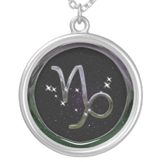 Capricorn Glass Silver Plated Necklace