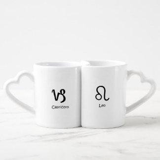 Capricorn goat and Leo the Lion Zodiacs Astrology Coffee Mug Set