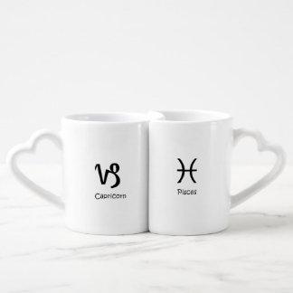Capricorn goat & Pisces the fish Zodiac Astrology Coffee Mug Set