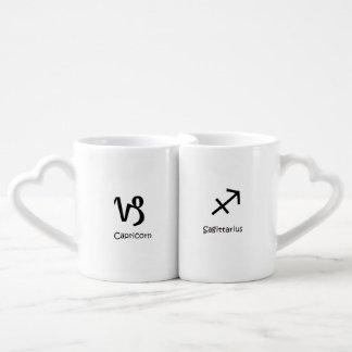 Capricorn goat & Sagittarius Zodiac Astrology Coffee Mug Set