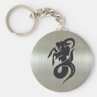 Capricorn Goat Silhouette with Metallic Effect Basic Round Button Keychain