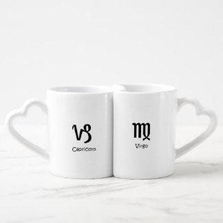 Capricorn goat & Virgo the Virgin Zodiac Astrology Coffee Mug Set