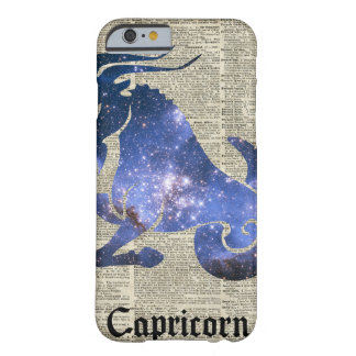 Capricorn Goat Zodiac Sign over old book page Barely There iPhone 6 Case