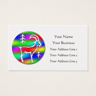 Capricorn Gold Bookmark Rainbow Goat Zodiac Business Card