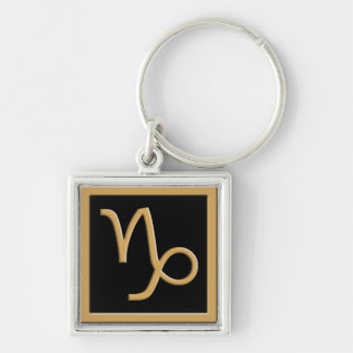 Capricorn Gold Symbol Design Premium Keychain