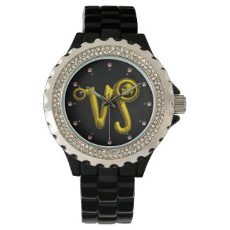 CAPRICORN GOLD ZODIAC BIRTHDAY JEWEL,Black Watches