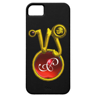 CAPRICORN GOLD ZODIAC SIGN RED RUBY MONOGRAM iPhone 5 CASE