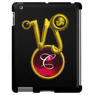 CAPRICORN GOLD ZODIAC SIGN RED RUBY MONOGRAM
