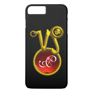 CAPRICORN GOLD ZODIAC SIGN RED RUBY MONOGRAM iPhone 7 PLUS CASE
