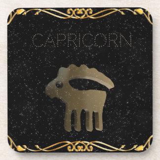 Capricorn golden sign drink coaster