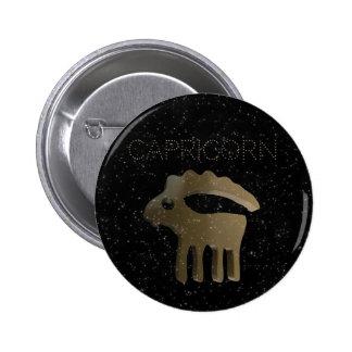 Capricorn golden sign pinback button