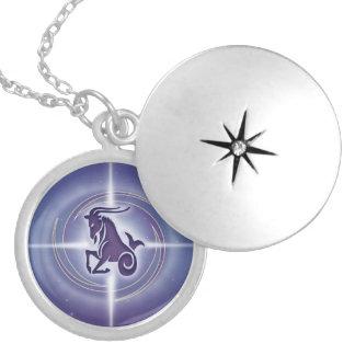 Capricorn Horoscope Lavender HLRX Round Locket Necklace