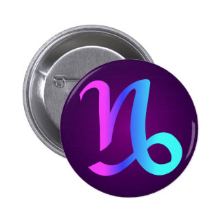 Capricorn Horoscope Sign Pink Blue Aqua Purple Pinback Button