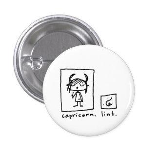 capricorn + lint pinback button