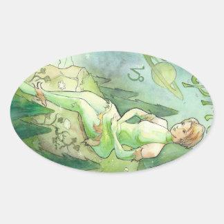 Capricorn Oval Sticker