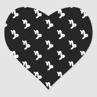 Capricorn Pattern Black and White Heart Sticker