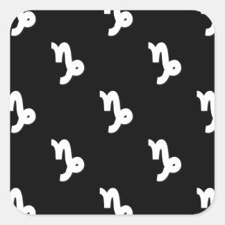 Capricorn Pattern Black and White Square Sticker