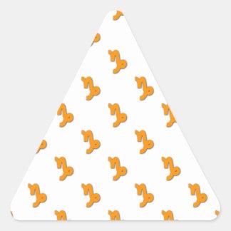 Capricorn Pattern Orange Triangle Sticker
