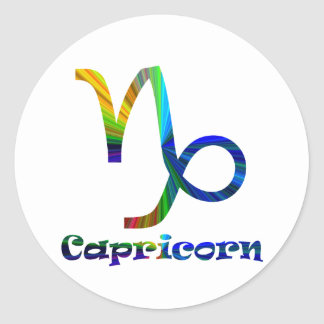 Capricorn Psychedelic Round Stickers