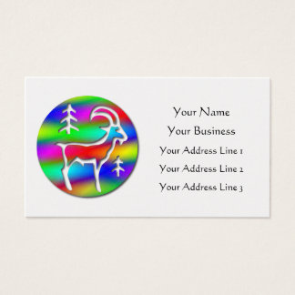 Capricorn Rainbow Goat Zodiac Platinum Bookmark & Business Card