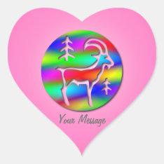 Capricorn Rainbow Goat Zodiac Star Sign Heart Sticker at Zazzle