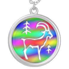 Capricorn Rainbow Goat Zodiac Sterling Silver Silver Plated Necklace at Zazzle