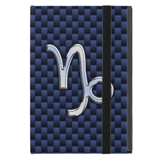 Capricorn Sign Navy Blue Carbon Fiber Style iPad Mini Covers