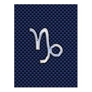 Capricorn Sign Navy Blue Carbon Fiber Style Postcard